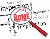 A magnifying glass hovering over the words Inspection, centering on a house with the word Home inside it