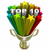 stock photo of reach the stars  - A golden with the words Top 10 in a burst of colorful stars - JPG