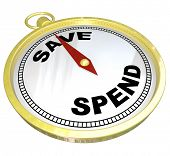 A compass with red needle pointing to the word Save and away from Spend, representing fiscal respons
