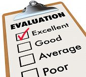 An evaluation report card on an easel with a checkmark next to the word Excellent along with other c