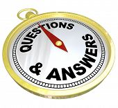 A gold compass with the words Questions and Answers representing the help, guidance and assistance you can get from customer support team or person who can offer direction