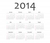 stock photo of august calendar  - Simple annual european 2014 year vector calendar - JPG