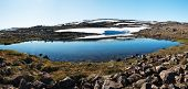 Panoramic photo of a mountain glacial lake on West Fjords peninsula, Iceland