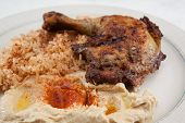 Plate of Mediterranean style chicken dinner