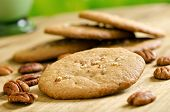 stock photo of pecan  - Delicious home made pecan cookies with whole pecan and milk - JPG