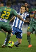 BARCELONA - FEB, 2: Joan Verdu of Espanyol in action during a Spanish League match between Espanyol