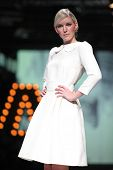 ZAGREB, CROATIA - OCTOBER 19: Fashion model wears clothes made by Monika Sablic at 'Croaporter' fash