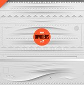 Big set of vector dividers for web design with seamless paper background, eps 10