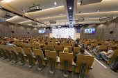 MOSCOW - FEB 28: People in main conference hall in International multimedia center during awarding e