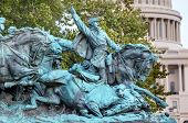 image of civil war flags  - Calvary Chage Ulysses US Grant Equestrian Statue Civil War Memorial Capitol Hill Washington DC - JPG