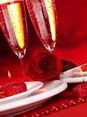 Image of beautiful Valentine day dinner still life, two glasses for champagne, alcohol beverage, rom