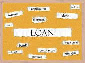 Loan Corkboard Word Concept