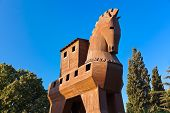 stock photo of hollow  - Trojan Horse at Troy Turkey  - JPG