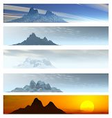 Collection Of 5 Mountain Landscape Banners