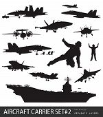 stock photo of fighter plane  - Aircraft carrier and naval aircrafts high detailed silhouettes  vector - JPG