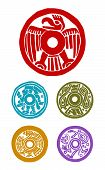 image of mayan  - five mayan symbols animals and human in colors - JPG