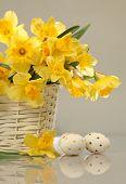 Ostereier und gelbe Blumen