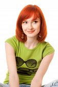 beautiful redhead girl in green t-shirt
