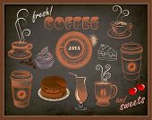 Coffee and Sweets Ads - Blackboard with a set of coffee and sweets advertisements, pastel doodle sty