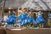 Hawaiian Dancers On Canoe