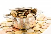 a pot filled with euro coins photo icon for funding