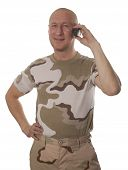 Soldiers calling on mobile phone on a white background