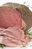 A Still Life Of Roastbeef On White