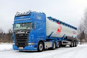 Blue Scania Dry Bulk Semi Trailer Combination Rig