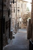 Medieval street in the Italian hill town of Assisi