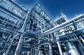 stock photo of refinery  - refinery pipelines constructions - JPG