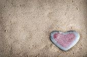 Tinted Heart Stone On Sand