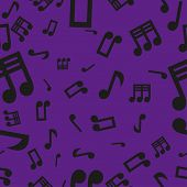 Musical Notes Seamless Pattern Violet