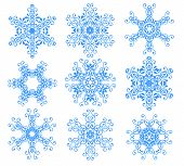 Blue Snowflakes Over White.