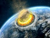 stock photo of meteorite  - Big asteroid crashing on the surface of an Earth - JPG