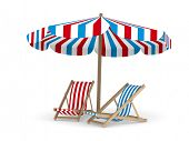 Two deckchair and parasol on white background. Isolated 3D image