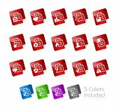 Documents Icons - 2 of 2 // Stickers Series ---- It includes 5 color versions for each icon in different layers -----
