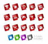 Food Icons - Set 1 of 2 // Stickers Series ---- It includes 5 color versions for each icon in different layers -----