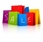 Sale Shopping Bags. Concept Of Discount. Vector Illustration