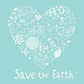 Save the earth. Ecology concept card in cartoon style. Romantic concept background made of bicycle,