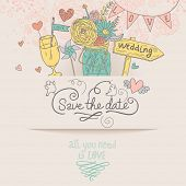 Stylish Save the Date card in vector. Cute wedding invitation with ranunculus bouquet, wedding table