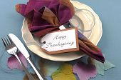 Modern Thanksgiving Dining Table Place Setting On Aqua Blue Tablecloth, With Material Autumn Leaves,