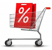 Shopping Cart With Sale Tag. Concept Of Discount.