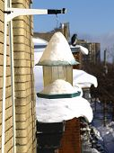 winter snow on bird-feeder outdoors