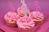 Pink Cupcakes With Pink Ribbon Symbol For International Breast Cancer Awareness Charity Month Of Oct