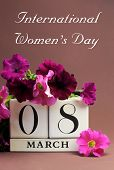 Save The Date White Block Calendar For International Women's Day, March 8, Decorated With Pink And P
