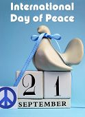 Dove And Peace Sign Decorations For International Day Of Peace, World Peace Day, With White Block Ca