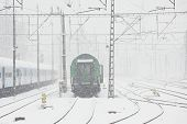 Railway Station In Winter - Heavy Snow Storm