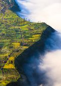 Village And Cliff At Bromo Volcano In Tengger Semeru, Java, Indonesia