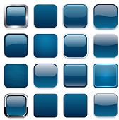 Set of blank dark blue square buttons for website or app. Vector eps10.