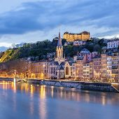 View Of River Saone At Night, Lyon
